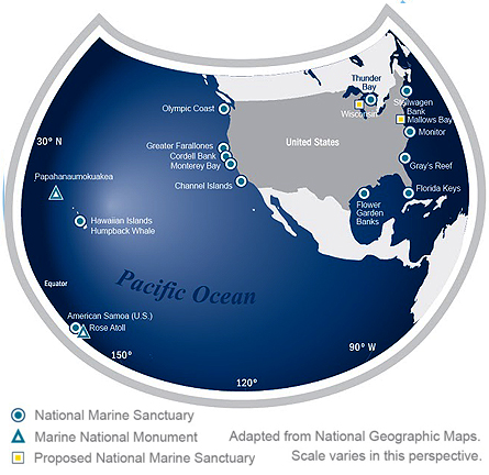 National Marine Sanctuaries map