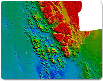 Image of substrate 15 m deep showing seqfloor with rock outcrop amidst sandy bottom seafloor.