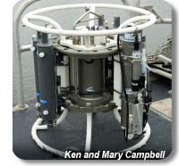 A 'rosette' shown in this picture is a round frame that holds a suite of instruments used for measuring oceanographic parameters
