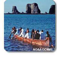 photo of a tribal journey canoe