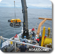 photo of remotely operated vehicle being lowered into the ocean