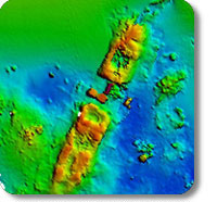 Multibeam image of the Temple Bar shipwreck