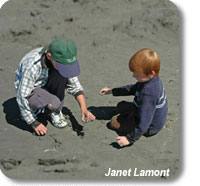 photo of children beachcombing