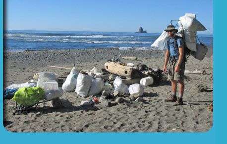 Photo of a volunteer at Beach Clean Up.